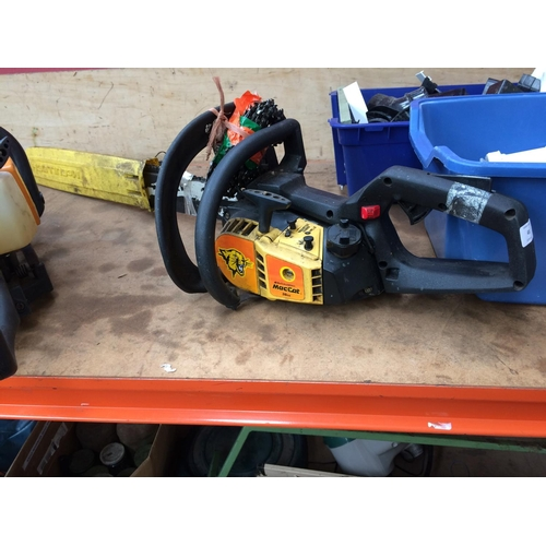 45 - A BLACK AND YELLOW MCCULLOCH MAC CAT PETROL CHAINSAW WITH 17