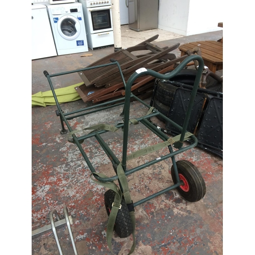 8 - A GOOD QUALITY TWO WHEELED FISHERMAN'S TROLLEY...