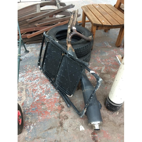 9 - FOUR ITEMS TO INCLUDE A SET OF TWO STEP METAL STEP LADDERS, MOTORCYCLE EXHAUST AND TWO HANKOOK 185/1...