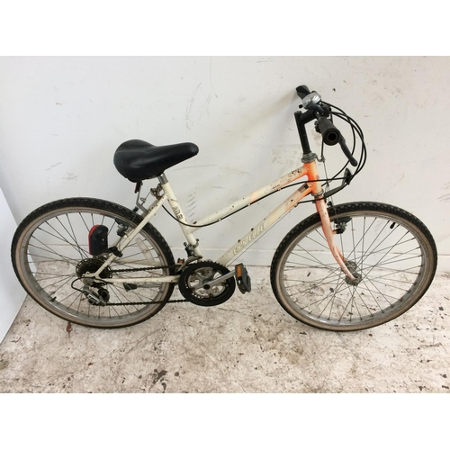 2 - AN ORANGE AND WHITE EMMELLE GIRL'S MOUNTAIN BIKE WITH 12 SPEED SHIMANO GEAR SYSTEM...