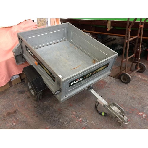 28 - A TWO WHEELED DAXARA 107 GALVANISED METAL CAR TRAILER MEASURING APPROX 44