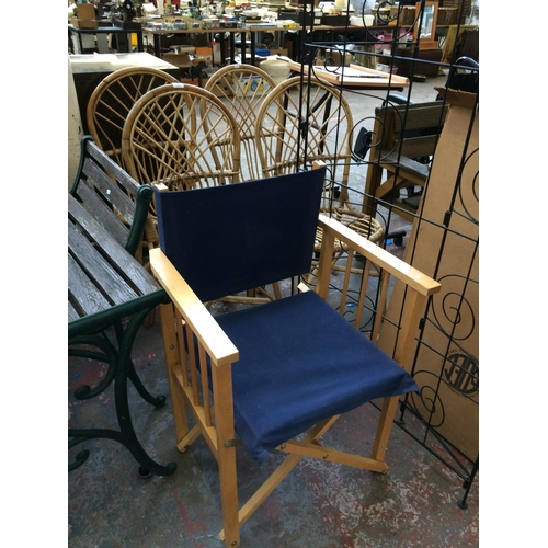 30 - FIVE ITEMS TO INCLUDE FOUR 1970S WICKER CONSERVATORY CHAIRS TOGETHER WITH A FOLDING WOODEN DIRECTOR'...