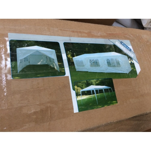 52 - A PYRAMID PRODUCTS LTD 3 X 9 METRE WEDDING MARQUEE AND MATCHING 3 X 9 METRE GAZEBO...