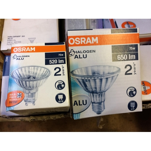 55 - A LARGE SELECTION OF NEW LIGHTING PRODUCTS TO INCLUDE OSRAM SCREW FIX HALOGEN BULBS, STRIP LIGHTS AN...