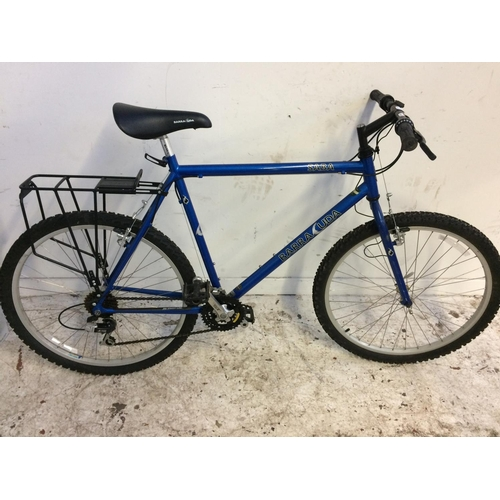 3 - A BLUE BARRACUDA SABA MEN'S MOUNTAIN BIKE WITH QUICK RELEASE FRONT WHEEL, REAR CARRIER AND 21 SPEED ...