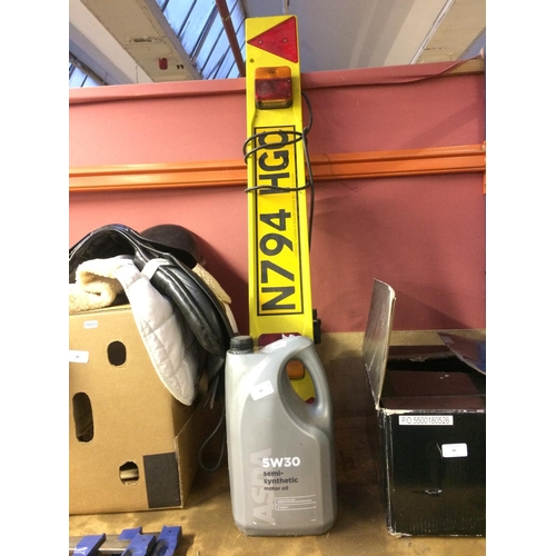 47 - TWO ITEMS TO INCLUDE A YELLOW TRAILER LAMP BOARD AND A 5 LITRE CONTAINER OF 5W30 SEMI SYNTHETIC MOTO...