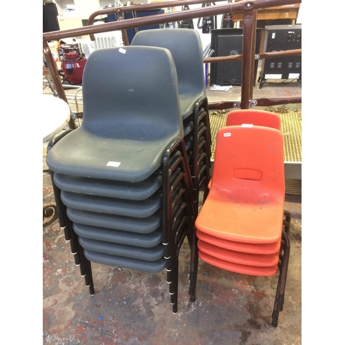 11 - 21 VINTAGE STACKABLE PRIMARY SCHOOL CHAIRS, 14 GREY AND 7 ORANGE...