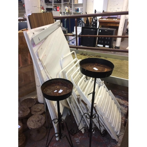 13 - A MIXED LOT TO INCLUDE METAL AND PLASTIC FOLDING CAMPING CHAIRS, ORNATE GARDEN CANDLESTICK HOLDERS, ...