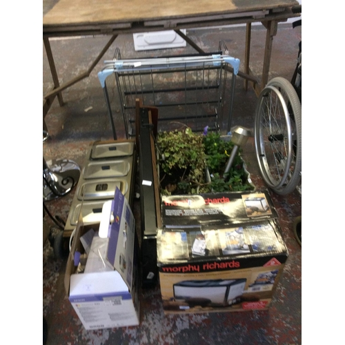 17 - A MIXED LOT - BOXED MORPHY RICHARDS BREAD MAKER, RECTANGULAR PLANTERS WITH PLANTS, CORBY TROUSER PRE...