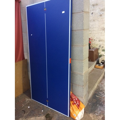 33A - A BLUE AND WHITE BCE 6' X 3' TABLE TENNIS TABLE ON METAL SUPPORTS WITH ACCESSORIES...