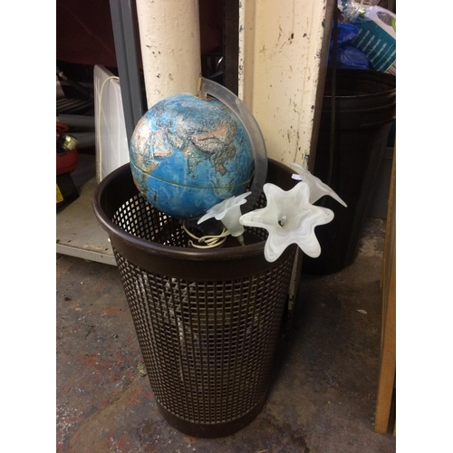 37 - A BROWN PLASTIC WASHING BASKET CONTAINING LIGHT-UP GLOBE, ELECTRICAL MULTI-PLUG, GLASS CEILING LIGHT...