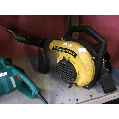 39 - A BLACK AND YELLOW MCCULLOCH SUPER AIRSTREAM 4 PETROL GARDEN VACUUM/BLOWER (W/O)...