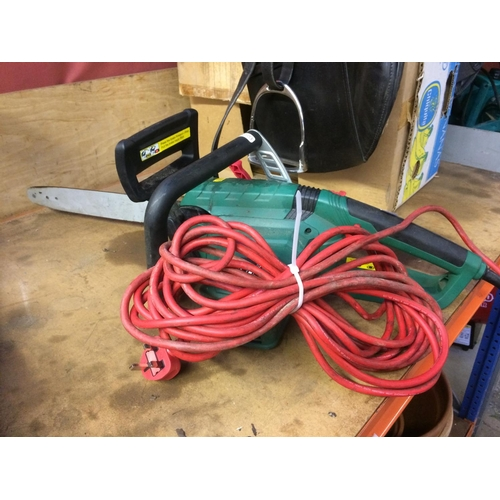 43 - A BLACK AND GREEN QUALCAST ELECTRIC CHAINSAW WITH 15