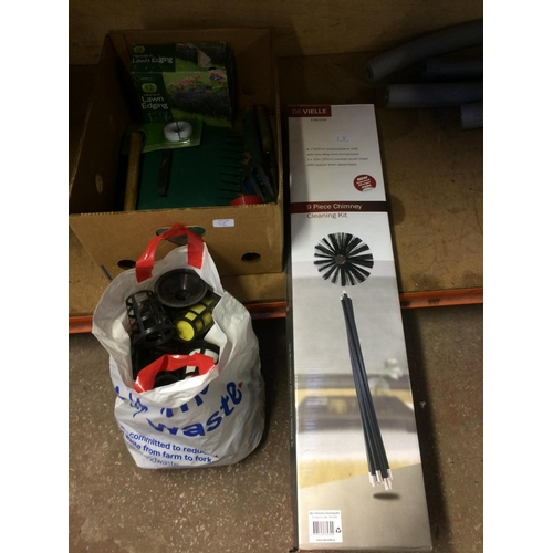 48 - TWO ITEMS - A BOX SET OF DE-VIELLE CHIMNEY CLEANING RODS AND BOX CONTAINING BAGGED OUTDOOR LIGHTS, S...
