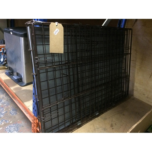 49 - A BLACK METAL FOLDING DOG CAGE WITH GALVANISED BASE...