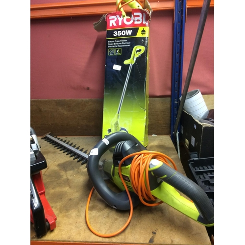 50 - TWO YELLOW AND BLACK RYOBI ELECTRIC GARDEN TOOLS TO INCLUDE RHT6560RL HEDGE TRIMMER WITH 24