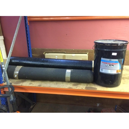 53 - FOUR ITEMS - THREE ROLLS OF MINERAL FELT AND A BUCKET OF CROMAR ROOFING FELT ADHESIVE...