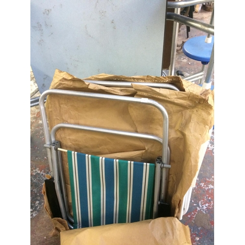 8 - THREE VINTAGE FOLDING CAMPING CHAIRS, TWO STRIPED AND ONE FLORAL...