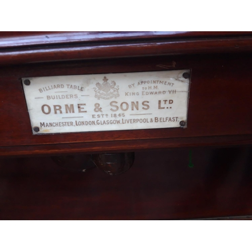 25A - AN EXCELLENT QUALITY VICTORIAN ORME & SONS LTD PROFESSIONAL SIZED MAHOGANY FRAMED SLATE BEDDED SNOOK...