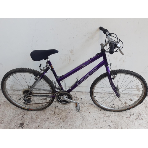 3 - A PURPLE SORRENTO SAPHRANE LADIES MOUNTAIN BIKE WITH QUICK RELEASE FRONT WHEEL AND 21 SPEED SHIMANO ...