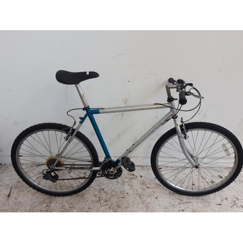 4 - A BLUE AND GREY MAXIMA GENTS MOUNTAIN BIKE WITH QUICK RELEASE FRONT WHEEL AND 21 SPEED GEAR SYSTEM...