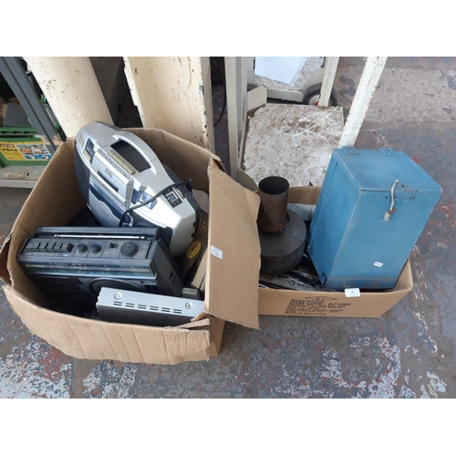 46 - TWO BOXES CONTAINING VINTAGE HITACHI PORTABLE RADIO CASSETTE, MATSUI DVD PLAYER,  BOOKS, CAMPING STO...