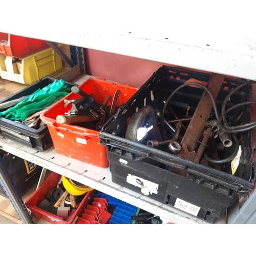 47 - THREE BOXES CONTAINING BARN DOOR HINGES, RECORD G CLAMP, CORNER CLAMP, SPANNERS ETC....