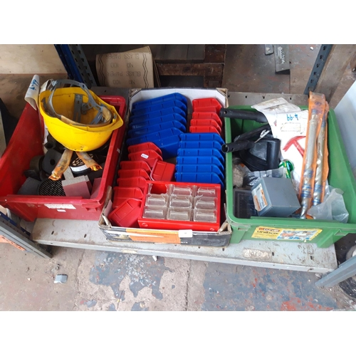 48 - THREE BOXES CONTAINING WORKSHOP PLASTIC STORAGE CONTAINERS, SANDING BLOCKS, LARGE MASONRY DRILL BITS...