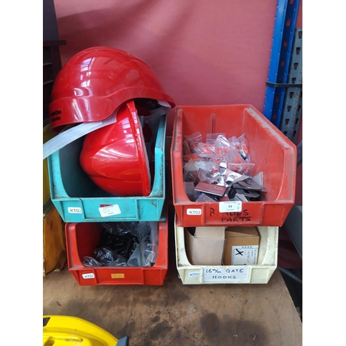 51 - FOUR PLASTIC WORKSHOP STORAGE BOXES CONTAINING NEW ALLEN KEY BOLTS, SAFETY HARD HATS, WOOD PLANE BLA...
