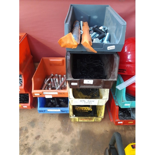 52 - SIX PLASTIC WORKSHOP STORAGE CONTAINERS, CONTAINING NEW BOLTS, MASONRY DRILL BITS ETC....