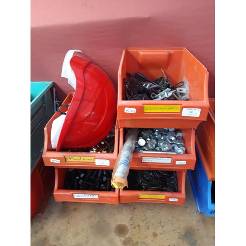 53 - FIVE WORKSHOP STORAGE CONTAINERS, CONTAINING NEW NUTS, BOLTS, SAW CLIPS, DOOR HASPS ETC....