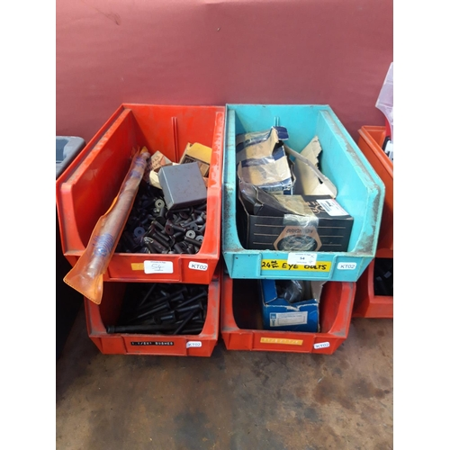 54 - FOUR WORKSHOP STORAGE CONTAINERS, CONTAINING NEW ALLEN KEY BOLTS, LARGE MASONRY DRILL BIT ETC....