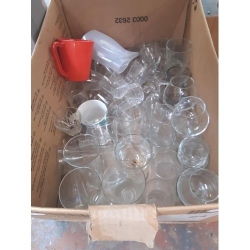 302 - THREE BOXES CONTAINING MIXED ITEMS TO INCLUDE GLASSWARE, LARGE QUANTITY OF MIXED CHINA, LAMP SHADE E...