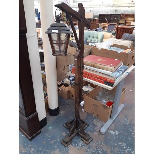 313 - AN UNUSUAL VINTAGE COTTAGE STYLE OAK LANTERN STANDARD LAMP...
