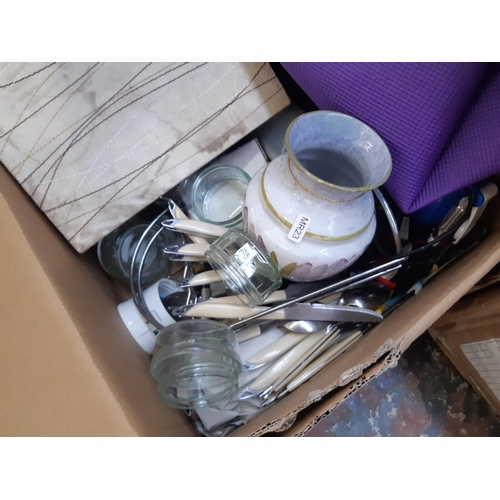 314 - TWO BOXES CONTAINING MIXED ITEMS TO INCLUDE MASON'S IRONSTONE MANDALAY PATTERN WALL CLOCK, CUTLERY, ...