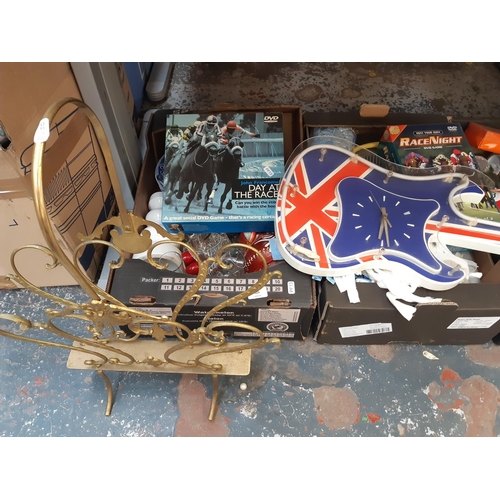 323 - FIVE BOXES CONTAINING MIXED ITEMS TO INCLUDE BOARD GAMES, CERAMICS, VINTAGE PLASTIC UNION JACK NEON ...