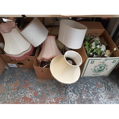326 - THREE BOXES CONTAINING MIXED ITEMS TO INCLUDE VARIOUS MODERN AND VINTAGE TABLE LAMPS, ARTIFICIAL FLO...