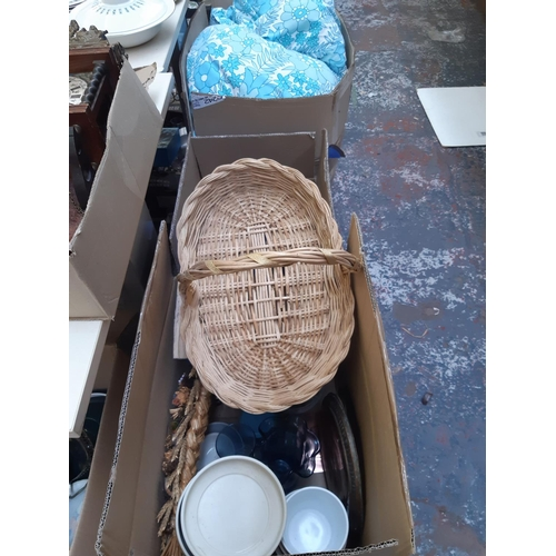 328 - THREE BOXES CONTAINING MIXED ITEMS TO INCLUDE GLASSWARE, WICKER BASKET, GOOD QUALITY COPPER MIDDLE E...