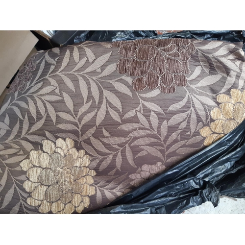349 - TWO PAIRS OF MODERN BROWN AND GOLD FLORAL PATTERNED CURTAINS...