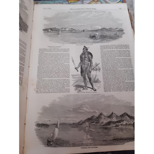 360 - FIVE VINTAGE AND ANTIQUE BOOKS TO INCLUDE THE ILLUSTRATED LONDON NEWS, NEW WORLDS MAPS FROM THE AGE ...