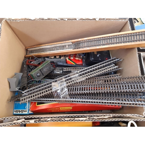362 - THREE BOXES CONTAINING A LARGE COLLECTION OF HORNBY AND OTHER MODEL RAILWAY PARTS AND ACCESSORIES TO...