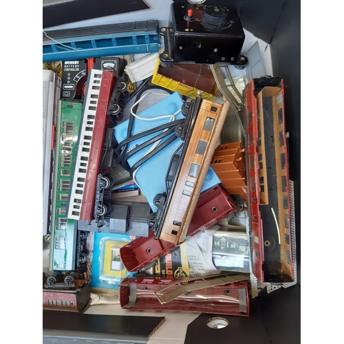 365 - A BOX CONTAINING A LARGE QUANTITY OF MODEL RAILWAY ACCESSORIES TO INCLUDE COACHES, MULTI PACK DC CON...