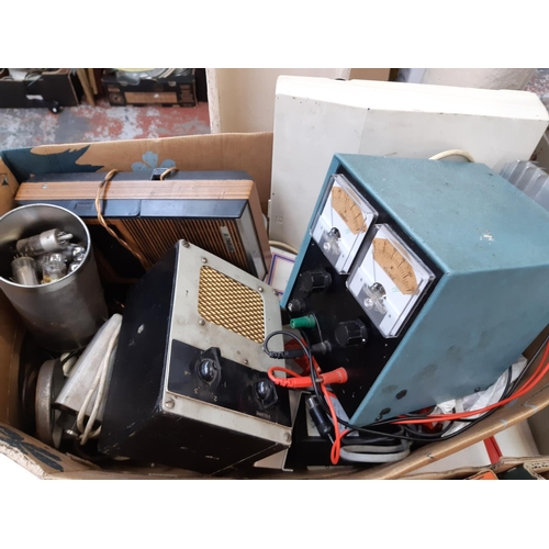 367 - TWO BOXES CONTAINING VARIOUS VINTAGE RADIO PARTS AND ACCESSORIES TO INCLUDE BOXED G.E.C VALVE, BOXED...