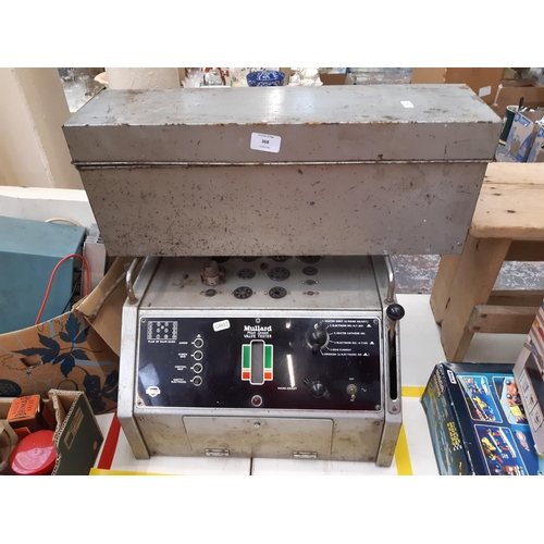 368 - TWO ITEMS TO INCLUDE A VINTAGE MULLARD HIGH SPEED VALVE TESTER AND A METAL CASE CONTAINING A LARGE C...