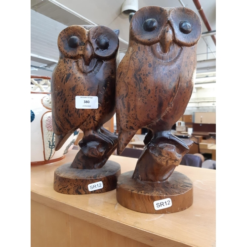 380 - A PAIR OF UNUSUAL CARVED WOODEN OWL FIGURES...