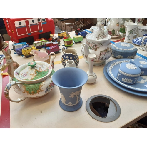 414 - A COLLECTION OF VARIOUS CHINA TO INCLUDE ROYAL ALBERT BENJAMIN ATE A LETTUCE LEAF BEATRIX POTTER FIG...