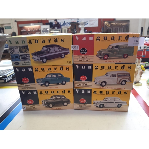 417 - SIX BOXED VANGUARDS DIECAST MODELS TO INCLUDE A TRIUMPH HERALD, AUSTIN A35, FORD 100E, MORRIS MINOR ...