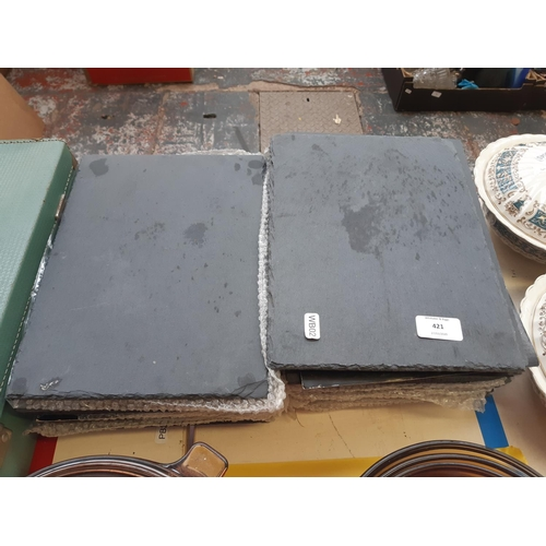 421 - A LARGE QUANTITY OF RECTANGULAR SLATE  PLACEMATS...