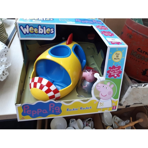 431 - TWO BOXED PEPPA PIG WEEBLES ROCKIN' ROCKET TOYS AND TWO BOXED PICABOO PUPPY CUDDLY TOYS...