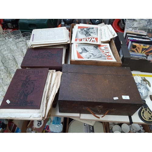435 - A LARGE COLLECTION OF THE WAR ILLUSTRATED MAGAZINES TOGETHER WITH A VINTAGE WOODEN TOOLBOX...